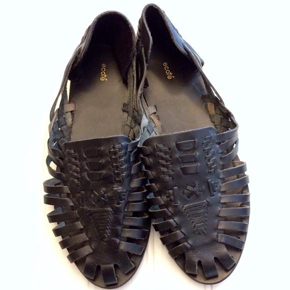 a17c45ca112f7 Ecote Shoes - UO Ecote black leather woven huarache sandal flats